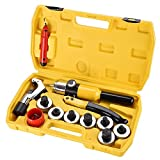 hvac tubing expander - 7 Lever HVAC Hydraulic Tube Expander Insertion Tubing Expanding Tool Swaging Kit with Case