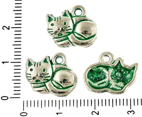 (12pcs Czech Green Turquoise Patina Antique Silver Tone Cat Animal Pet Halloween Charms Bohemian Metal Findings 15mm x 12mm)