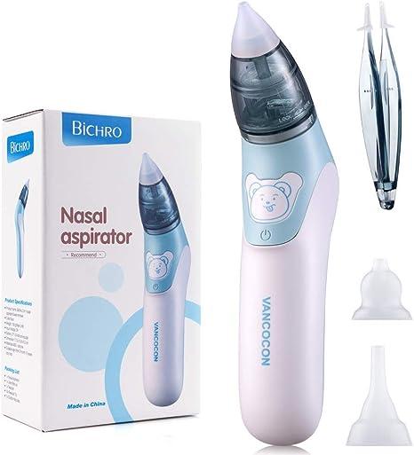 Bichiro Aspirador nasal, limpiador de nariz eléctrico para bebé y removedor de cera del oído con 3 boquillas de lechón reutilizables para recién nacidos, niños pequeños y bebés: Amazon.es: Bebé