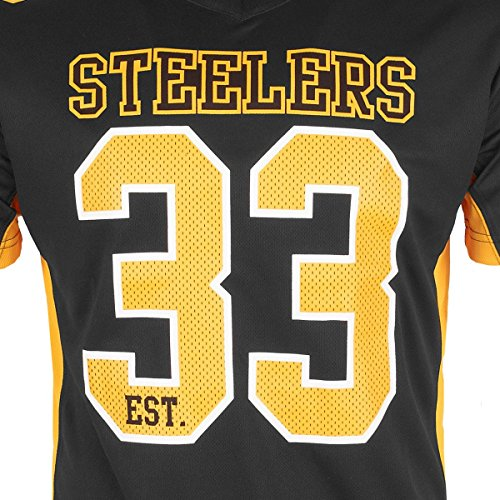 new product 872bb 753f7 Majestic Pittsburgh Steelers Moro Est. 33 Mesh Jersey NFL T-Shirt