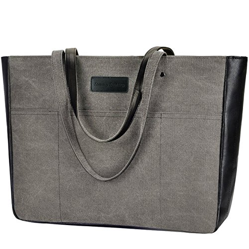 Laptop Tote Bag,Women 13-15.6 Inch Laptop Bag for Work,Lightweight Canvas Tote Bag Office Briefcase (Canvas Womens Briefcase)