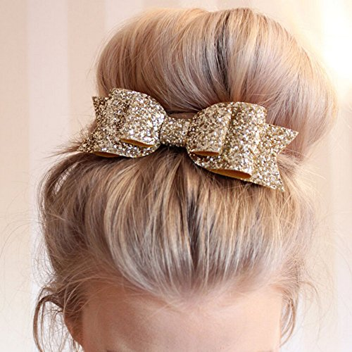 Bluelans Girls Boutique Hair Clips Barrettes Hair Accessories Glitter Hair Bows Hair Pins for Girls Teens - Rose - Rose Bow Gold