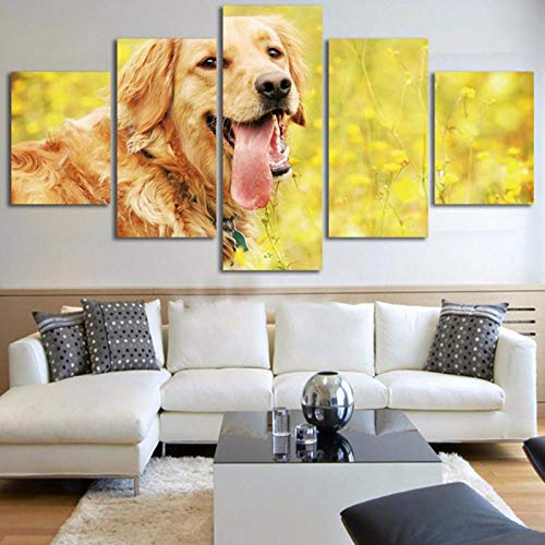 IGZAKER No Frame Vintage Wall Art Pictures Home Decor Paintings On Canvas 5 Pieces Grassland Animal Golden Retriever Dog for Living Room@40X60,40X80,40X100Cm