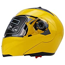 Full Face Motorcycle Helmet Dual Visor Street Bike with Transparent Shield(YELLOW-M)