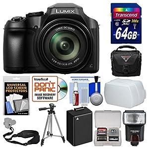 Panasonic Lumix DC-FZ80 4K Wi-Fi Digital Camera with 64GB Card + Case + Flash + Diffuser + Battery + Tripod + Strap + Kit