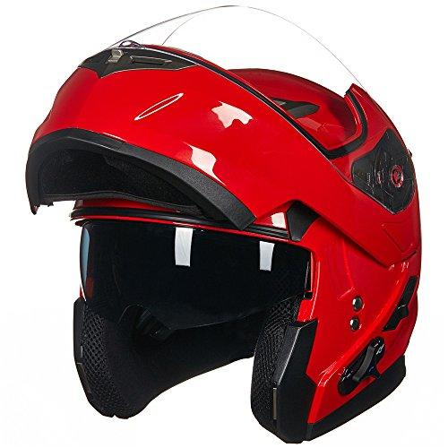 ILM Bluetooth Integrated Modular Flip up Full Face Motorcycle Helmet Sun Shield Mp3 Intercom (XL, RED) by ILM (Image #2)