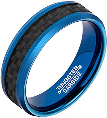 FCL Tungsten Rings for Men 6mm Blue Plated Black Carbon Fiber Inlay and Beveled Edges