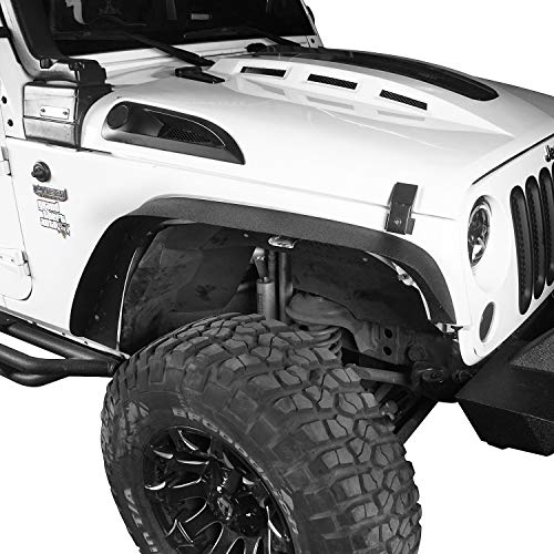 - Hooke Road Wrangler JK Fender Flares, Front & Rear Steel Flat Rough Country Fender Armors for 2007-2018 Jeep Wrangler JK & Unlimited - Set