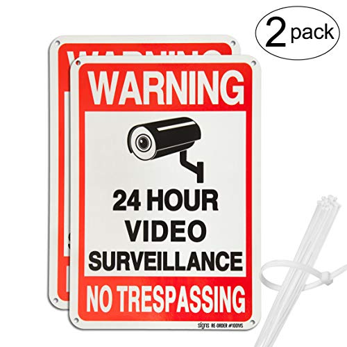"""No Trespassing Warning Sign, 24 Hour Video Surveillance 