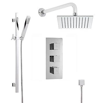 Hudson Reed Kubix Thermostatic Shower System Complete Set   2 Outlets    Triple Concealed Brass Valve
