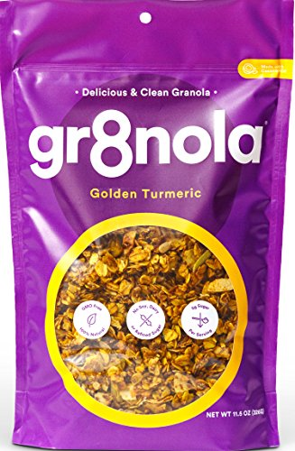 gr8nola Granola Cereal Healthy Breakfast or Snack, Non GMO, Vegan, Low Glycemic with Coconut Oil - GOLDEN TURMERIC 11.5 oz