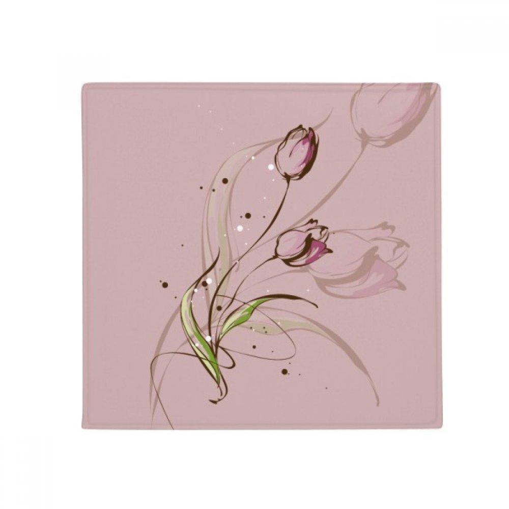DIYthinker Hand Painted Tulip Pink Flower Plant Anti-Slip Floor Pet Mat Square Home Kitchen Door 80Cm Gift