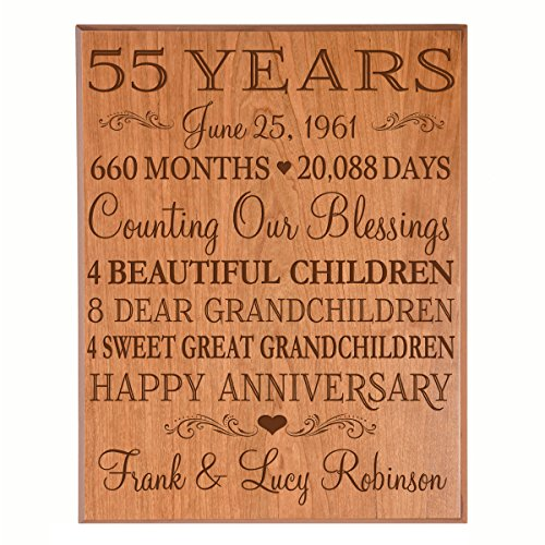 Personalized 55th Anniversary Gifts for him her Couple parents, Custom Made 55 year Anniversary Gifts ideas Wall Plaque 12