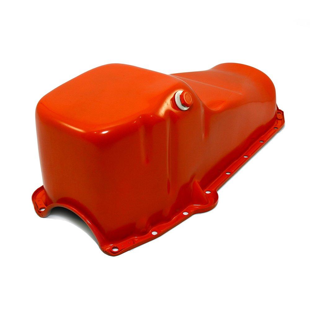 Assault Racing Products A7005P Small Block Chevy Orange Oil Pan Stock Capacity SBC 283 305 327 350 400