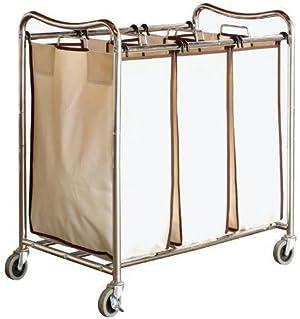 Decobros Heavy-duty 3-bag Laundry Sorter Cart; Chrome New