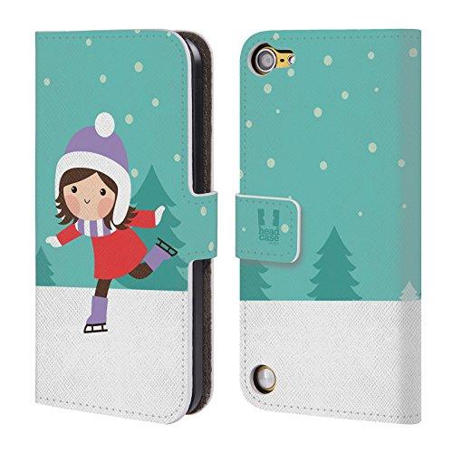 Head Case Designs Pattinatrice Sul Ghiaccio Cartoni Di Un Felice Natale Cover a portafoglio in pelle per iPod Touch 5th Gen / 6th Gen
