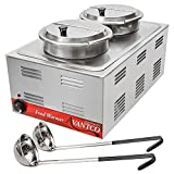 Full Size Electric Countertop Soup Warmer with 2 Insets, 2 Lids and 2 Ladles