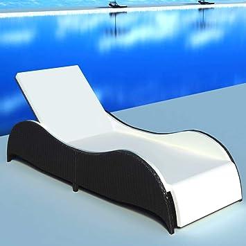 Daonanba Bain De Soleil Confortable Chaise Longue Piscine Noir