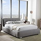 Baxton Studio Camile King Storage Platform Bed in Gray