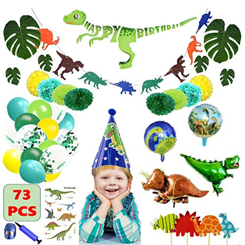 Dinosaur Birthday Party Supplies Decorations Set Kit for Boys Kids Toddlers Baby Shower, Dino Theme Party Favors Decor Pack with Cake Topper, Latex Foil Balloons, Tattoo
