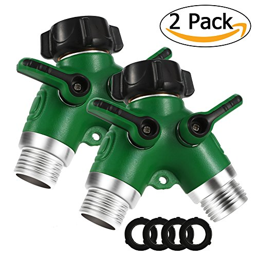 Litake All Metal Y Hose Connector, 2 Way Hose Splitter with Comfortable Rubberized Grip for Garden and Home Life-2 (Two Way Hose Connector)