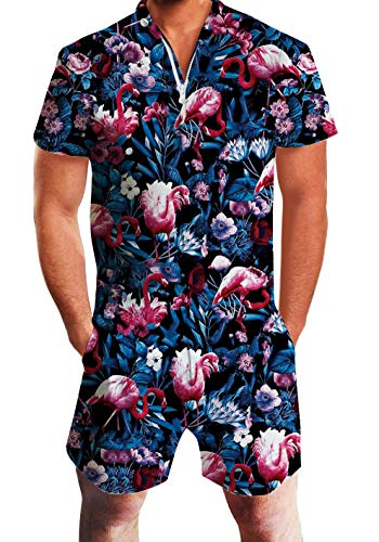 UNIFACO Men Casual Red Flamingo Knee Length Romper Short Jumpsuit Bro Overalls Medium