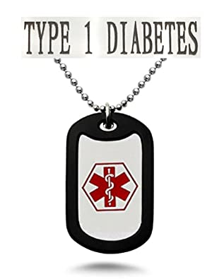 Diabetes Medical Alert Engraved Dog Tag With Rubber Silencer on 24 Chain - All Stainless Steel (Type 1)