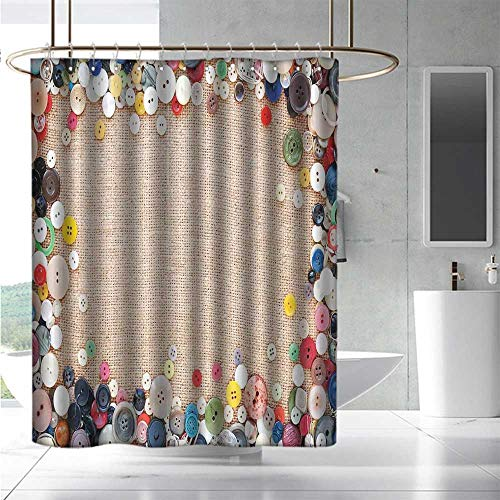 EwaskyOnline Fabric Shower Curtain Vintage Buttons Collection Fabric Texture Canvas Frame Sewing Needlecraft Contemporary Picture Fashionable Pattern W36 x L72 Light Brown ()