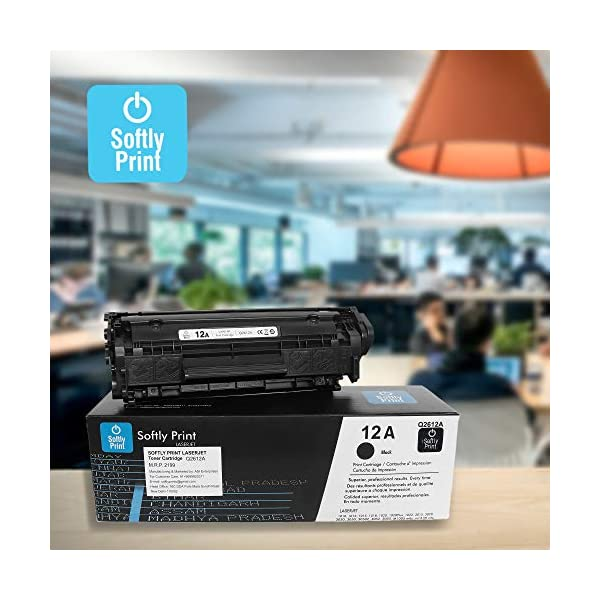 Softly Print HP 12A Q2612A 1010/1012/1015/1018/1020/1022/3015/3020/3030 (Black) Compatible printers: HP laserjet 1010 1012 1015 1018 1020 1022 3015 3020 3030 3050 3050z 3052 3055 m1005mfp m1319mfp (Pack of 2)