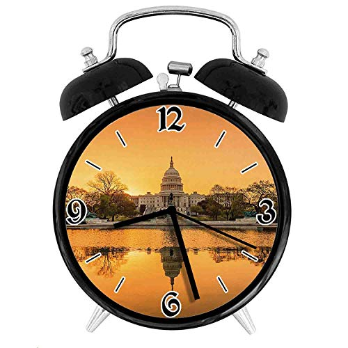 one-six-one Washington DC American Capital City White House Above The Lake LandscapeDesk Clock Home Office Unique Decorative Alarm Ring Clock 4in