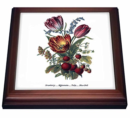 (3dRose trv_149616_1 Vintage Flowers Strawberry Mignonette Tulip Blue Bells Trivet with Ceramic Tile, 8 by 8