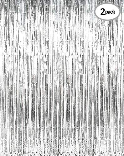Silver Metallic Tinsel Foil Fringe Curtains for Party Photo Booth Props | Backdrop | Wedding Décor | Baby Shower| Graduations | Valentine Day | Bachelorette| Birthday Party Door Decorations 2 Pack