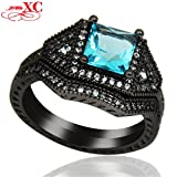 AYT 2 pcs Hot Vintage Lady's Fine Jewelry Wedding Finger Rings bijoux Blue Sapphire AAA Zircon Black Gold Filled Ring Anel 9.0