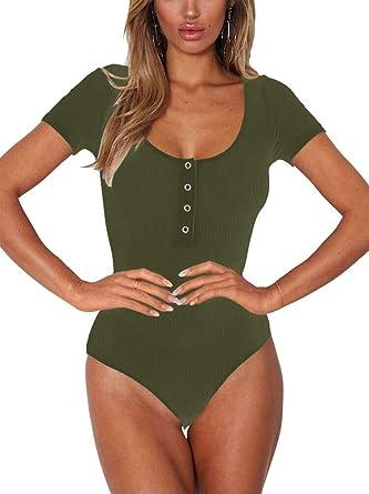 Womens Jumpsuits Racerback Tank Top Romper Ribbed Bodysuit Militarygreen S
