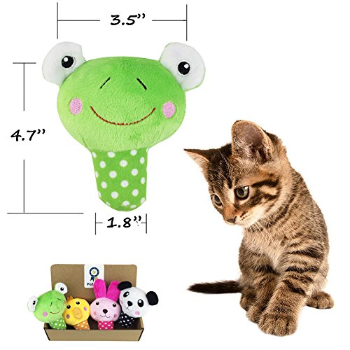 Petzilla-Squeaky-Sound-Chew-Animal-Toys-for-Pet-Dogs-Cats-Panda-Rabbit-Frog-Chick-Pack-of-4