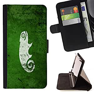 BETTY - FOR LG Nexus 5 D820 D821 - cool funny cute green nature chameleon - Style PU Leather Case Wallet Flip Stand Flap Closure Cover