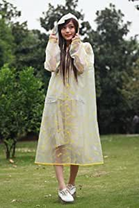 Rilkean Heart Transparent Fashion Travel Raincoat(yellow) (XXXL(120cm without the hat:suitable for height 170cm))