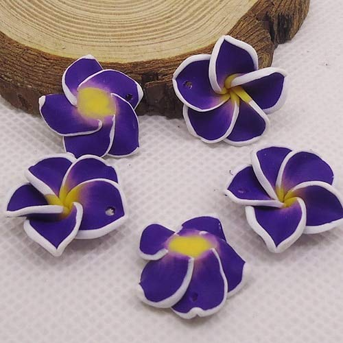 - Pukido 20pc/lot 20mm Yiwu Market Beautiful Soft Clay Polymer Fimo Plumeria Flower Beads Decorated Hawaii Earring Jewelry Craft Material - (Color: deep Purple)