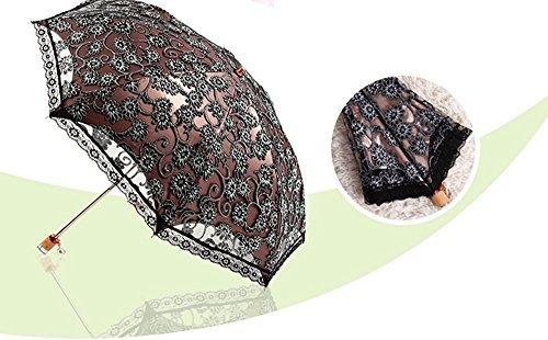 Black WayGo Ladies Umbrella Lace Parasol Folding Umbrella Sun Shade Anti-uv