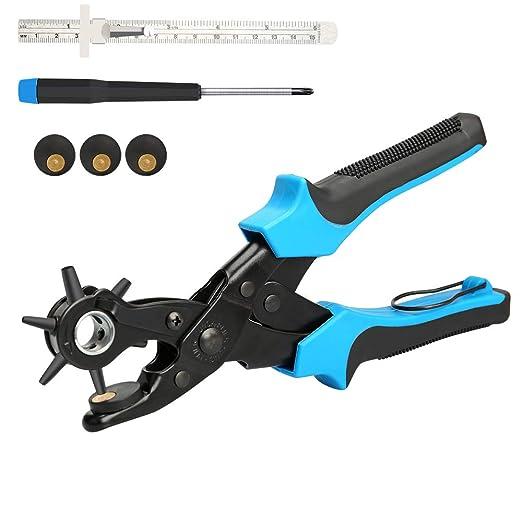 E·Durable Sacabocados Agujero Cinturon Perforadora de 6 Tamaños 2-4.5 mm tenaza Perforadora de Cuero para Hacer Agujeros Cinturon para Cinturones, ...