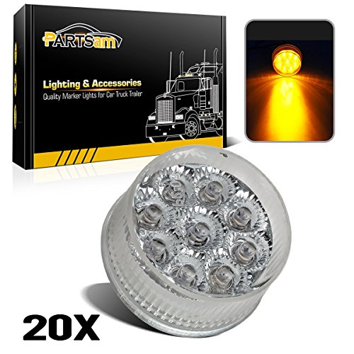 - Partsam 20) 2in. Round Side Marker LED Truck Lights Clearance 9 Diodes Reflector Trailer, Sealed Clear/Amber 2