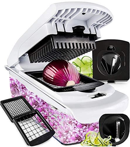 - Fullstar Vegetable Chopper - Spiralizer Vegetable Slicer - Onion Chopper with Container - Pro Food Chopper - Slicer Dicer Cutter - 4 Blades
