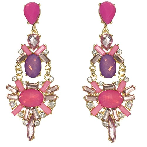 - Stunning Long Rhinestone and Resin Post Dangle Gold Tone Boutique Style Earrings (Pink & Purple)