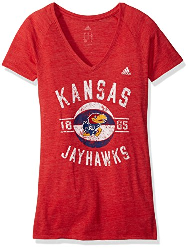 Kansas Jayhawks Adidas Basketball - adidas NCAA Kansas Jayhawks Womens Middle Basketball Tri-Blend V-Neck Teemiddle Basketball Tri-Blend V-Neck Tee, Red Heather, Medium