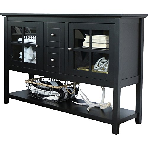 Media Console Table With Storage - Large Glass Doors TV Stand - Entertainment Center or Sideboard - This Piece Of Furniture Is Multipurpose (Large Sideboard)