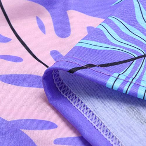 Women's Casual Dress Sleeveless Bohemian Dress Classic Refined Tunic Leaf Vintage Printed Pockets Sundress Size S-2XL (XL, Purple) by Sengei (Image #6)