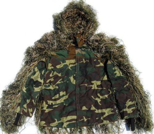 Ultralight Ghillie (Synthetic Ultra-Light Sniper Ghillie Woodland BDU Jacket Large)