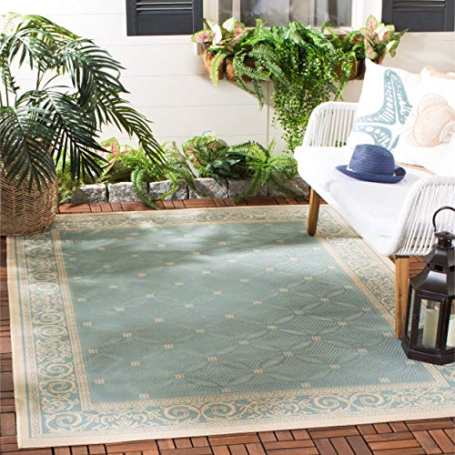 Safavieh Courtyard Collection CY6107-25 Aqua and Cream Indoor/ Outdoor Area Rug (5'3
