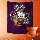 SOCOMIMI Elastic Fabric Tapestry, like Cinema Movie Burgers Popcorns Glasses Art Print Home Decor 51.1L x 59W Inches