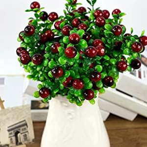 Baost 1Pc 18 Heads Artificial Fruits Tree Plants DIY Art Indoor Outside Bonsai Decor for Home Office Table Wedding Festival Garden Bouquet Floral Decoration 95